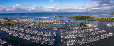 Ala Moana Beach Park. Panoramic view of the Ala Moana Beach Park and Magic Island Lagoon in Honolulu, Hawaii Stock Photography