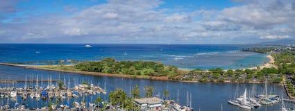 Ala Moana Beach Park. Panoramic view of the Ala Moana Beach Park and Magic Island Lagoon in Honolulu, Hawaii Royalty Free Stock Image