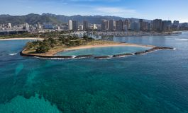 Beautiful Aerial View of the Ala Moana Beach Park Oahu Hawaii. Ala Moana Beach Park is a playground that just about offers something for everyone, including a stock photography