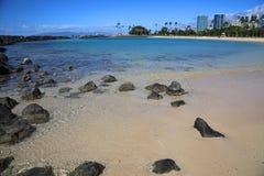 Ala Moana Beach. View at Ala Moana Beach on Magic Island, Honolulu, Oahu, Hawaii Royalty Free Stock Photo