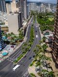 Ala Moana blvd en Waikiki Stock Afbeelding