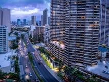 Ala Moana blvd en Waikiki Royalty-vrije Stock Foto