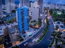 Ala Moana blvd and Waikiki. Condo towers overlooking Ala Moana Boulevard in Waikiki. Honolulu skyline visible Royalty Free Stock Photo