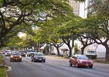 Ala moana boulevard. Cars driving on ala moana boulevard in Honolulu Royalty Free Stock Image