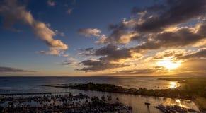 Ala Moana-Strand-Park-und Magie-Insel-Lagune Lizenzfreie Stockbilder