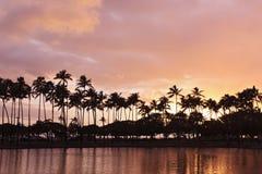 Ala moanazonsondergang in Hawaï royalty-vrije stock foto