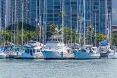 Ala Wai Boat Harbor. Ala Wai Harbor is the largest small-boat and yacht harbor in Hawaii. Located  just outside of Waikiki Royalty Free Stock Photography