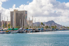 Ala Wai Boat Harbor. Ala Wai Harbor is the largest small-boat and yacht harbor in Hawaii. Located  just outside of Waikiki Royalty Free Stock Images