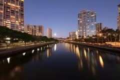 Ala Wai Canal Honolulu Hawaii. Ala Wai Canal, Honolulu at night Stock Photography