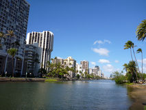 Ala Wai Canal on Oahu, Hawaii Stock Photos