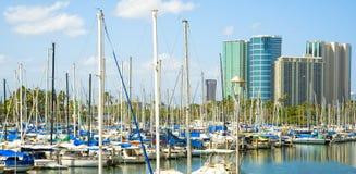 Ala Wai Hafen, Honolulu, Oahu, Hawaii stockfotos