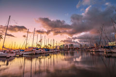 Ala Wai Harbor Hawaii. Dramatic landscape of sailing boats and yachts docked at the Ala Wai Harbor, the largest yacht harbor of Hawaii, reflecting in the sea at stock photos