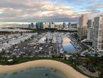 Ala Wai Small Boat Harbor en Honolulu, Oahu foto de archivo