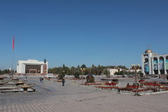 Alaa-too square in central Bishkek, kyrgyzstan stock photography