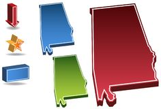 Alabama 3D. Set of 3D images of the State of Alabama with icons Royalty Free Stock Image