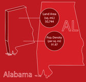 Alabama 3D Vector map info graphic Stock Images