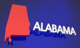 Alabama AL Red State Map Name vektor illustrationer