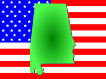 Alabama on American flag Stock Image