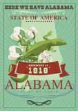 Alabama american travel poster. Here we have Alabama. Alabama american travel poster. Vector USA banner. United STates of America. Cotton field. Here we have Stock Images