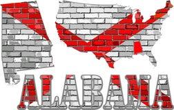 Alabama auf einer Backsteinmauer Stockfotos
