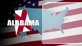 Alabama Countered Flag and Information Panel stock footage