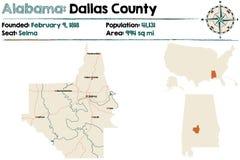 Alabama: Dallas okręgu administracyjnego mapa Obraz Royalty Free