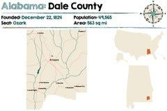 Alabama: Dolina okręgu administracyjnego mapa Obrazy Stock