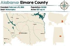 Alabama: Elmore okręgu administracyjnego mapa Fotografia Royalty Free