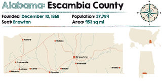 Alabama: Escambia county map. Large and detailed map of Escambia County in Alabama Royalty Free Stock Image