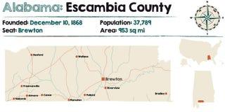 Alabama: Escambia okręgu administracyjnego mapa Obraz Royalty Free