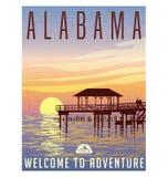 Alabama, Estados Unidos viaja cartel ilustración del vector