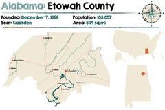 Alabama: Etowah okręgu administracyjnego mapa Obrazy Royalty Free