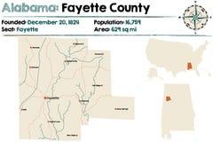 Alabama: Fayette okręgu administracyjnego mapa Obrazy Royalty Free