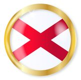 Alabama Flag Button. Alabama state flag button with a gold metal circular border over a white background Royalty Free Stock Image