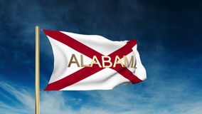 Alabama flag slider style with title. Waving in stock video
