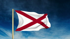 Alabama flag slider style. Waving in the win with. Alabama flag slider style. Waving with cloud background animation stock footage