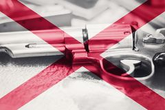 Alabama flag U.S. state Gun Control USA. United States Gun Law. S Royalty Free Stock Images