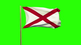 Alabama flag waving in the wind. Green screen. Alpha matte. Loops animation stock footage