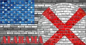 Alabama flagga på den gråa USA flaggabakgrunden Arkivfoto