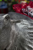 Alabama Football Mascot In Hounds Tooth. This is a statue of Alabama elephant all dressed up for the holiday season with Bear Bryant hounds tooth and crimson stock photo