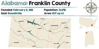 Alabama: Franklin okręgu administracyjnego mapa Obrazy Royalty Free