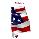 Alabama full of American flag. Waving in the wind. The outline of the state Vector Illustration