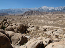 Alabama Hills. And Mt Whitney in the Eastern Sierra Nevada Mountains Royalty Free Stock Images