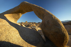 The Alabama Hills Arch at sunrise near Lone Pine, CA Stock Images