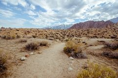 Alabama Hills in Lone Pine California - dirt trail through the area. Many Western Classic films were made in this area.  royalty free stock photo