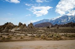 Alabama Hills Recreation Area in Lone Pine California. Many Western movies were filmed in this area.  royalty free stock photos