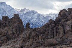 Alabama Hills and Sierra Nevada Mountains Stock Image