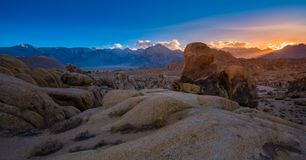 Alabama Hills at Sunset Mt Whitney in the Background. Rock Formations of Alabama Hills Sierra Nevada Owens Valley Lone Pine California USA Stock Photos