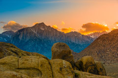 Alabama Hills at Sunset Mt Whitney in the Background. Rock Formations of Alabama Hills Sierra Nevada Owens Valley Lone Pine California USA Stock Image
