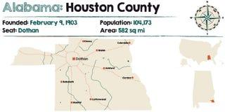 Alabama: Houston okręgu administracyjnego mapa ilustracji